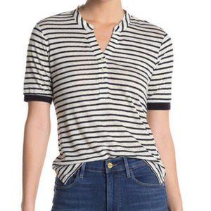 Frame Striped Linen Henley Polo Shirt Summer Sz M